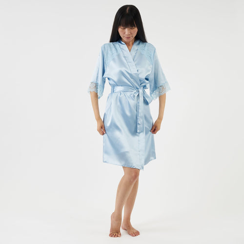short satin dressing gown with elbow length sleeves - powder blue