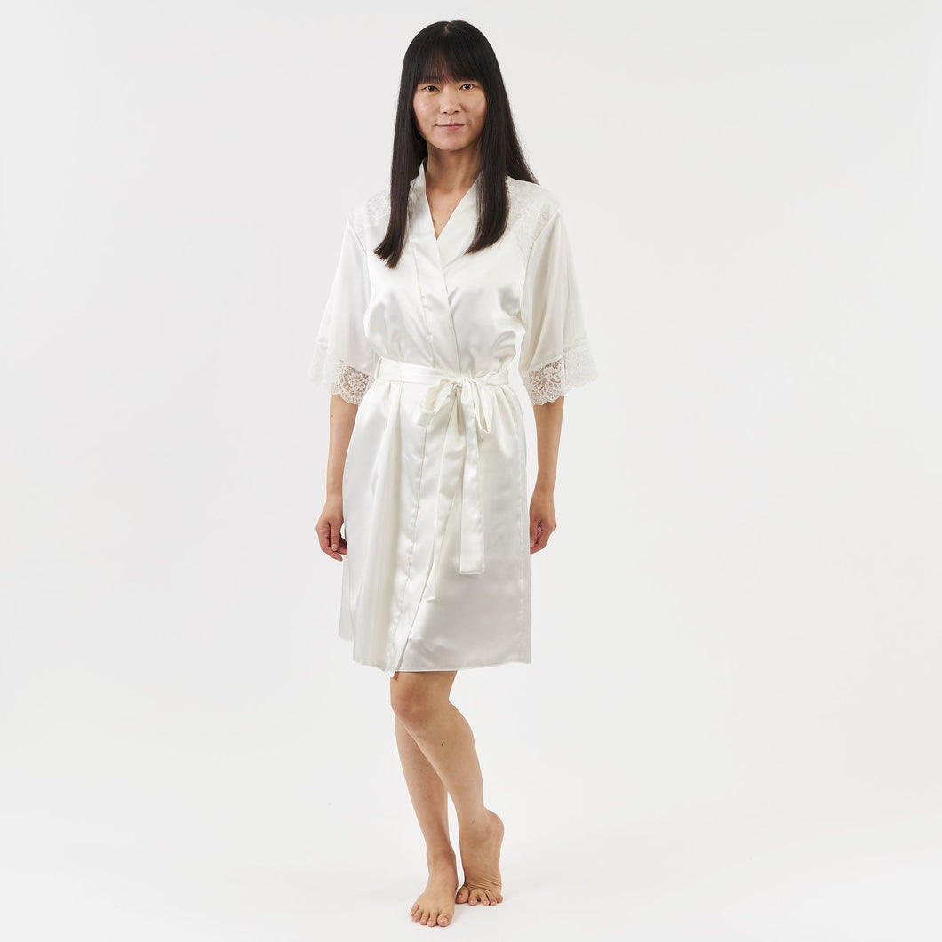 short satin dressing gown with elbow length sleeves - ivory
