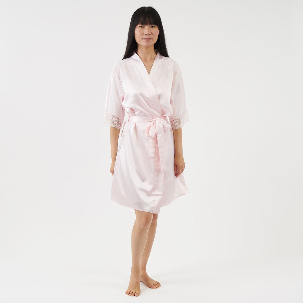 short satin dressing gown with elbow length sleeves - baby pink