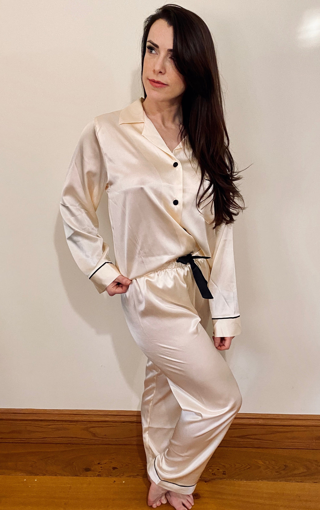 The Sarah Pyjama -buttercream ivory - pure silk