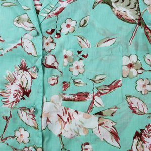 Mint Blossom Print Cotton Pyjama Set