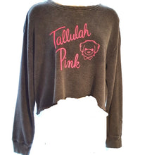 Load image into Gallery viewer, Tallulah Pink Charcoal Crop Logo Sweater