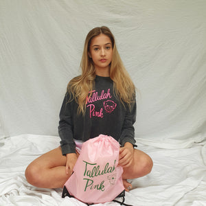 Tallulah Pink Charcoal Crop Logo Sweater
