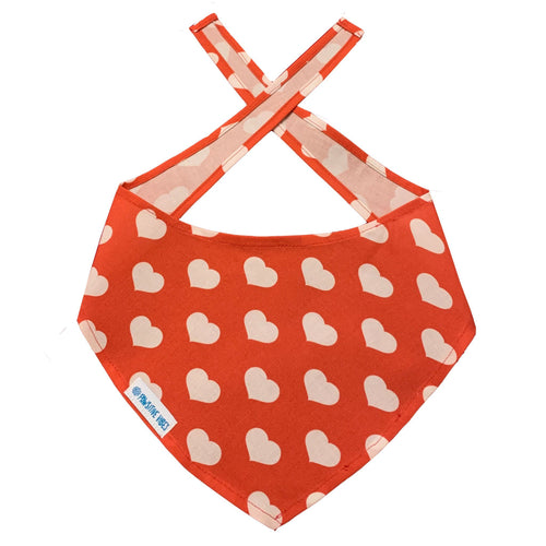 Dog Bandana with Hearts | Red Dog Bandana
