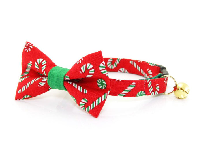 Candy Cane Bow Tie Cat Collar
