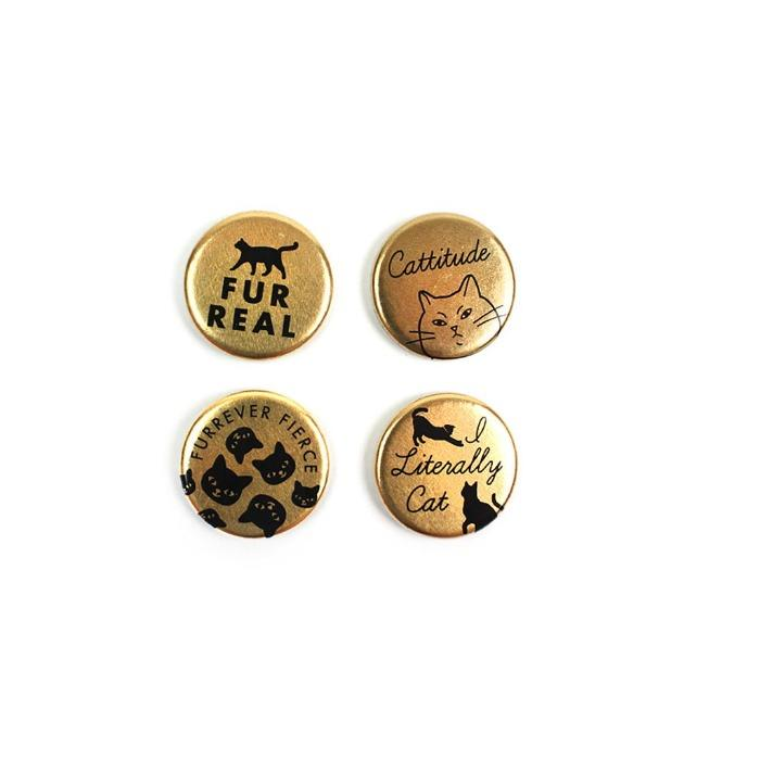 Cat Lover Gold Refrigerator Magnets