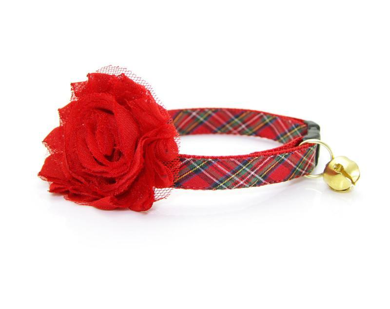 Cat Collar & Flower Set - Hearthside Red Tartan Plaid