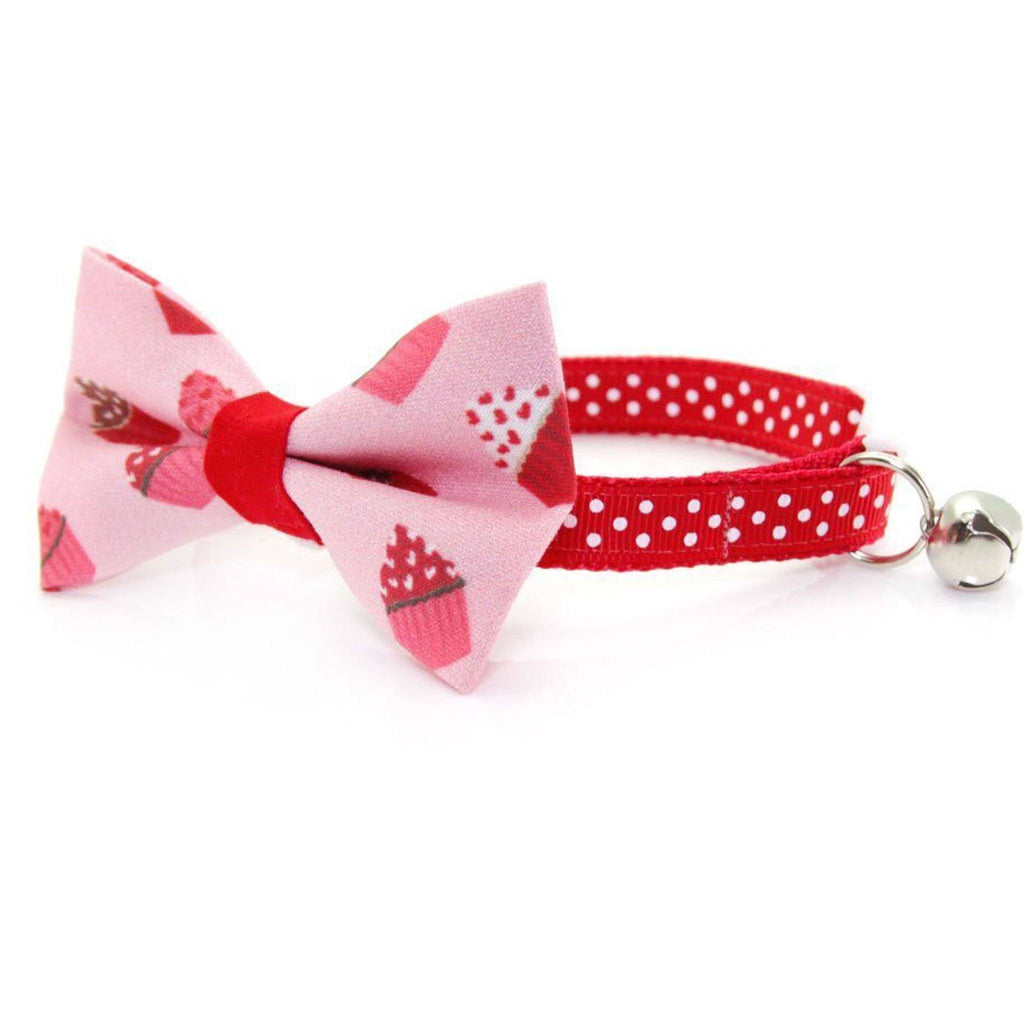 Pink Cupcake Bow Tie Cat Collar