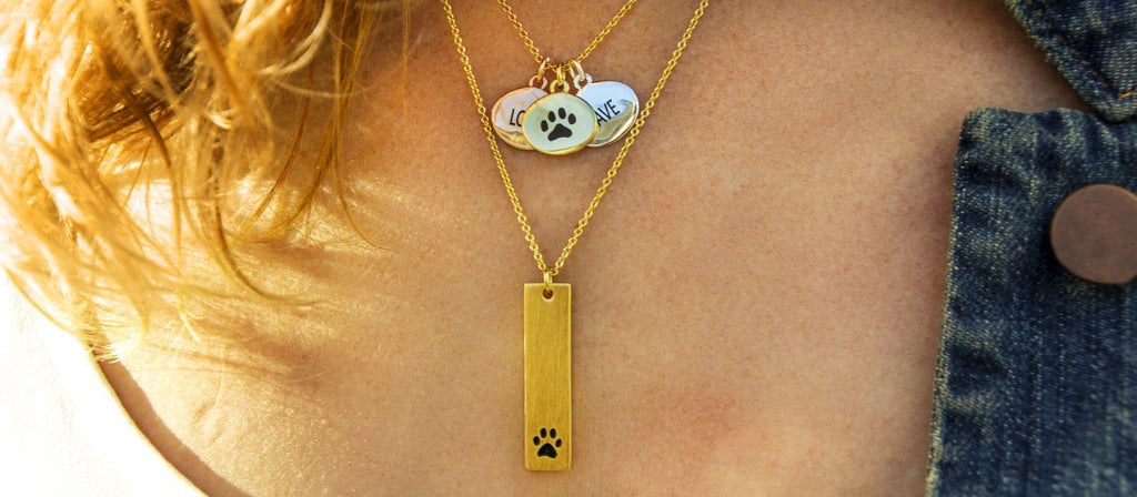 Vertical Paw Brass Necklace
