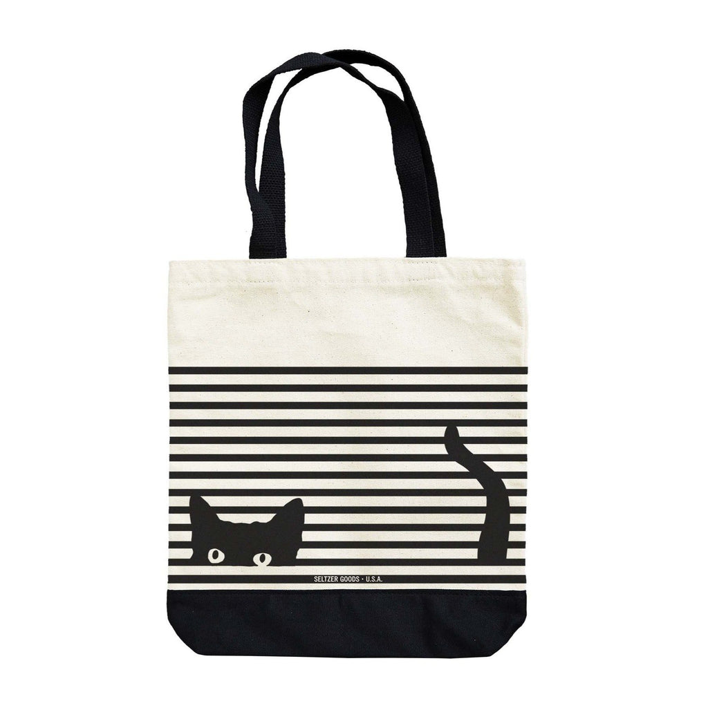 Hidden Kitty Cat Striped Tote