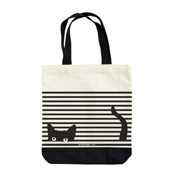Hidden Kitty Cat Striped Tote Tote Bag