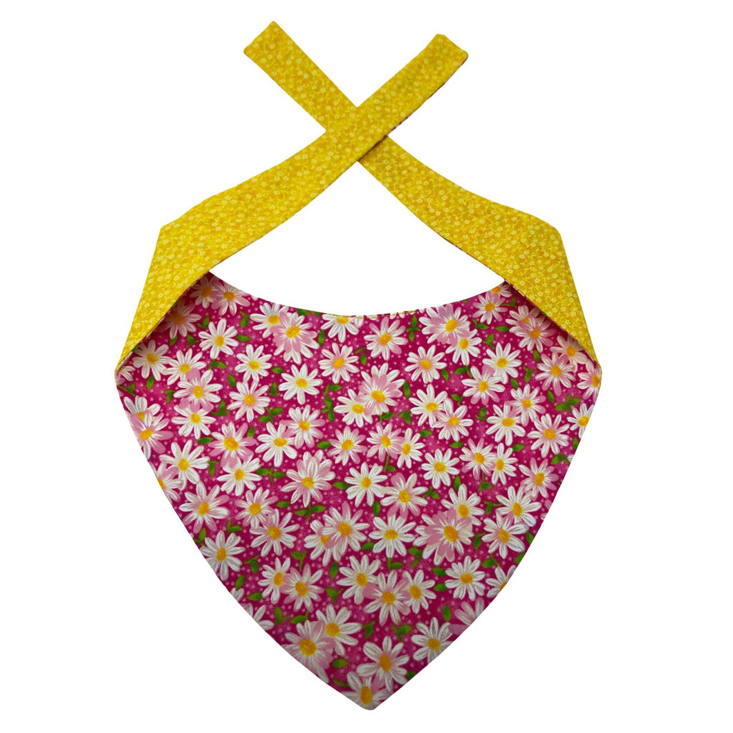 Red Dog Bandana with Daisies