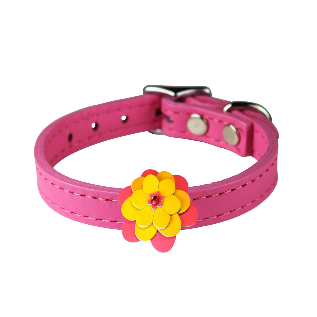Pink Leather Flower Pet Collar Dog Collars