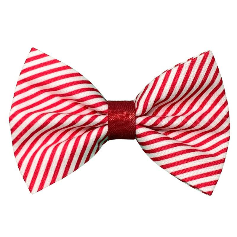 Red and White Striped Bow Tie for Dogs