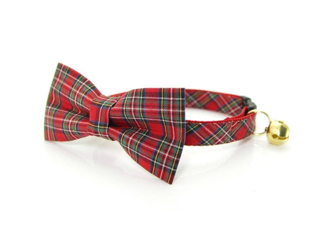 Red Plaid Bow Tie Cat Collar