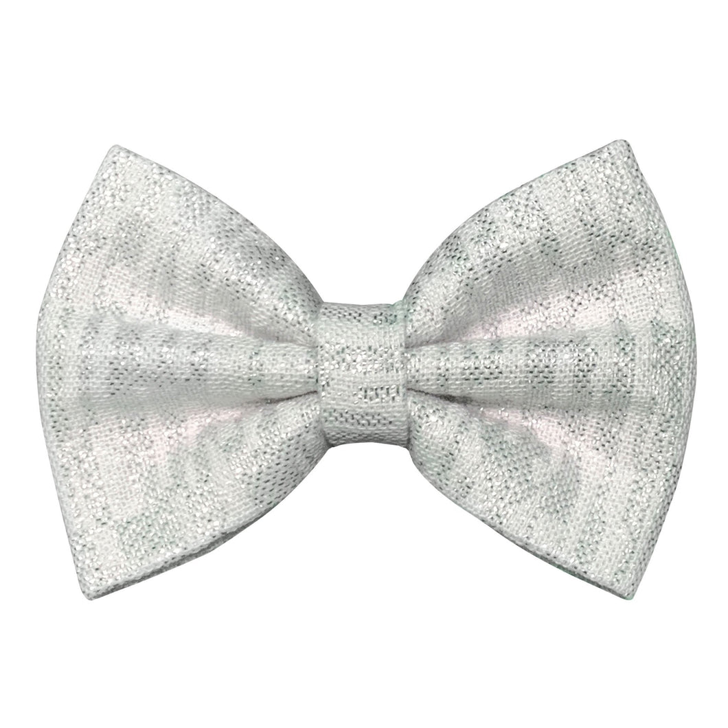 White and Silver Bow Tie for Dogs
