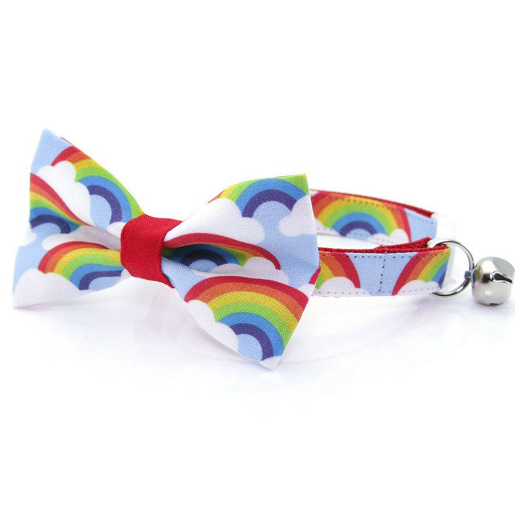 Rainbow Bow Tie Cat Collar