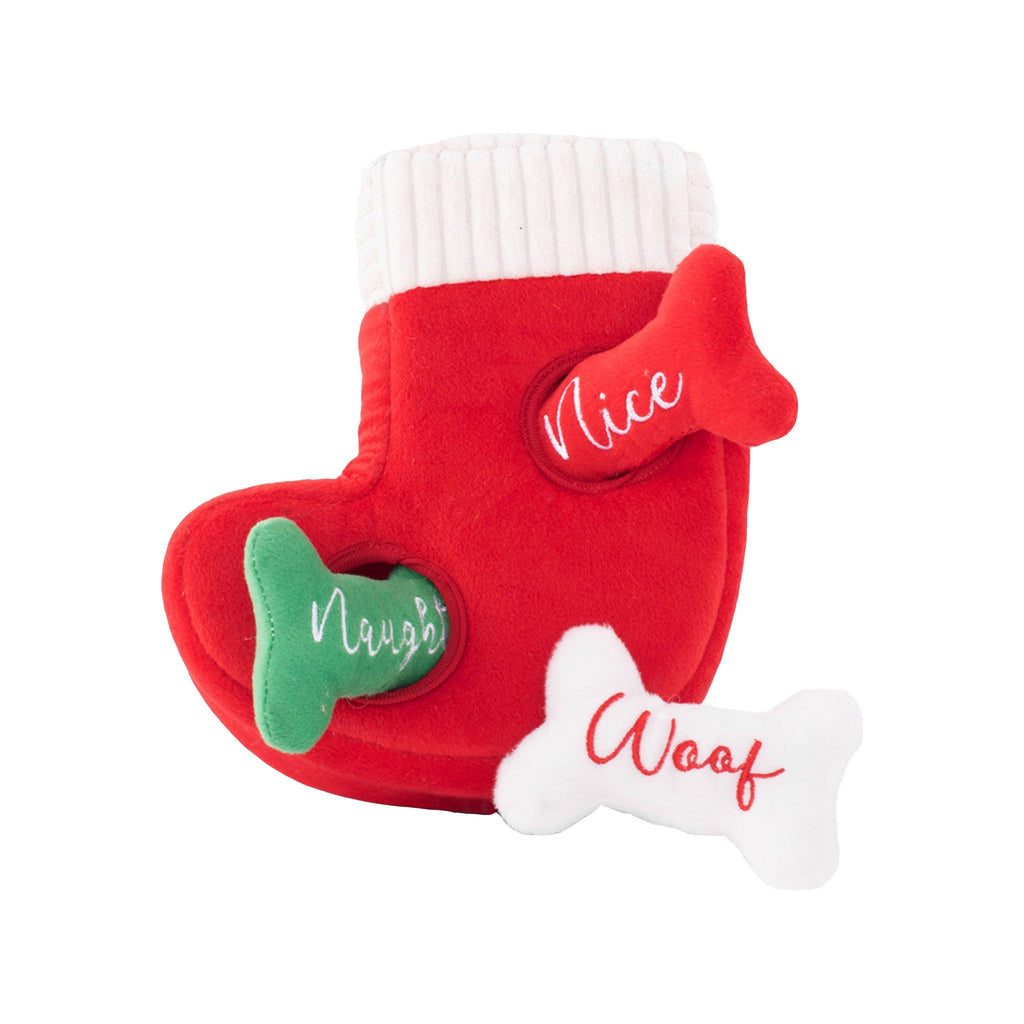Naughty or Nice Stocking Dog Toy