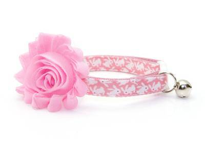 Pink and White Bunny Cat Collar
