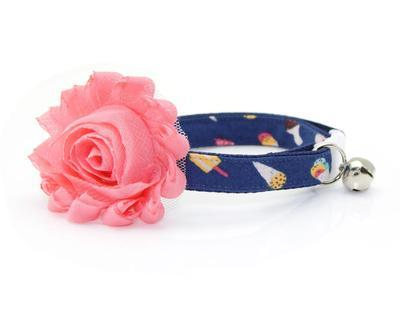 Cat Collar & Flower Set  - Ice Cream Party