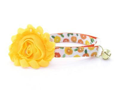 Cat Collar & Flower Set - Marigold  - Orange and Yellow Floral