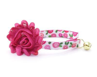 Cat Collar & Flower Set  - Rosalie - Pink Floral