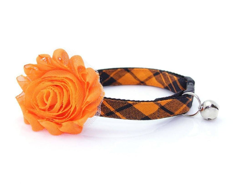 Plaid Cat Collar | Cat Collar with Flower