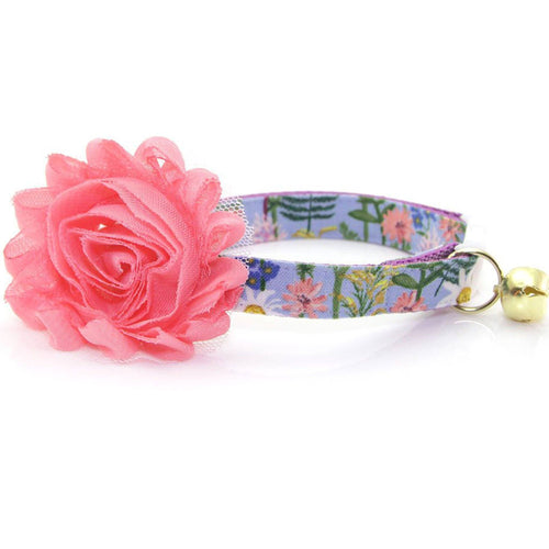 Purple Flower Cat collar with Bow