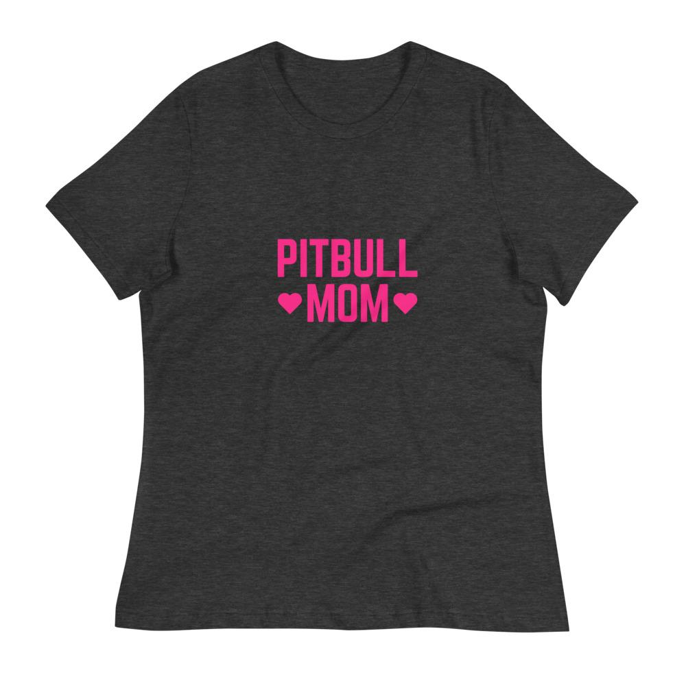 Pitbull Mom Relaxed T-Shirt Dark Grey Heather S