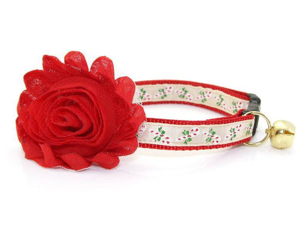 Cat Collar & Flower Set - Yuletide Ruby Holiday Set Cat Collars