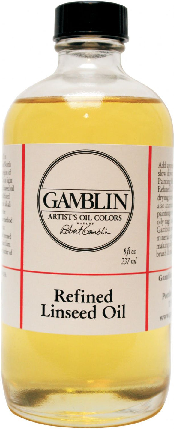 Gamblin Refined Linseed Oil 8oz - Modern School Supplies, Inc.