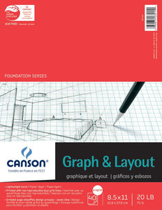 "Canson®Foundation Series 8.5"" x 11"" Graph and Layout Sheet Pad - Modern School Supplies, Inc."