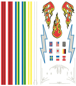 PINECAR® Dry Transfer Decals Stripes & Flames - Modern School Supplies, Inc.