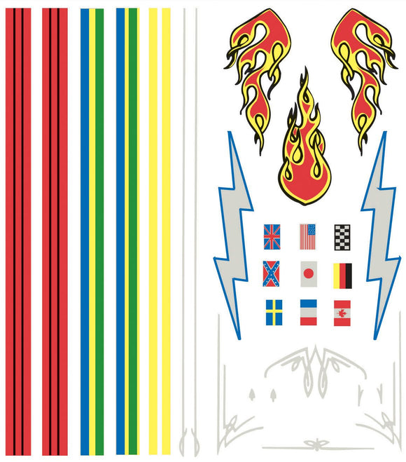 PINECAR® Dry Transfer Decals Stripes & Flames – Clearance