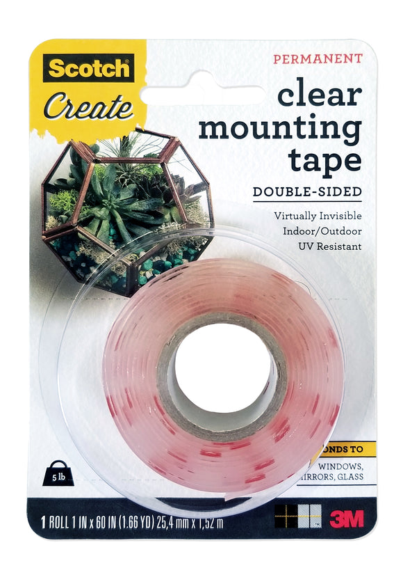 Scotch® Clear Mounting Tape Double-Sided, 1