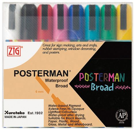 Zig® Posterman® Waterproof Marker Set