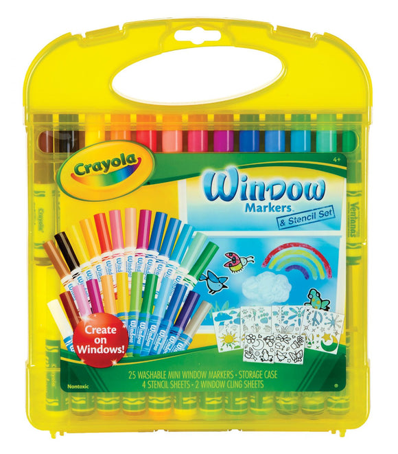 CRAYOLA® Washable Window Markers & Stencil Set – CLEARANCE