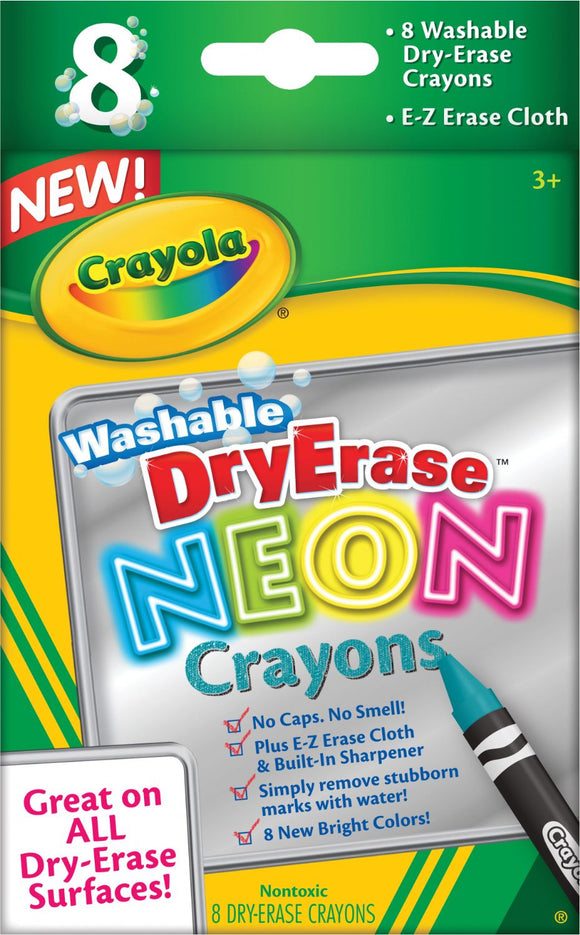 Crayola® Washable Dry Erase Crayon Set, Neon – Clearance