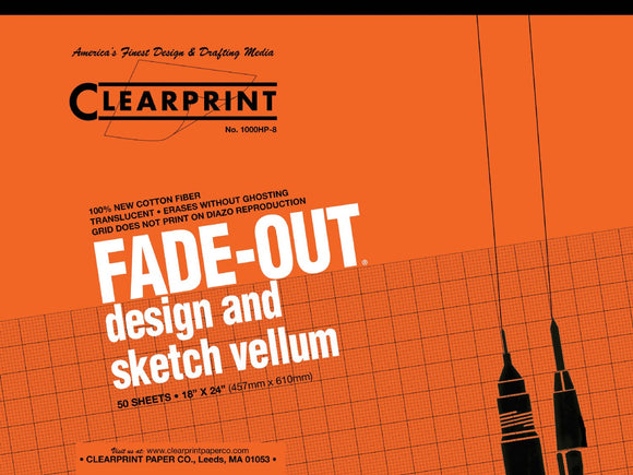 Clearprint® 1000HP Series 18 x 24 Vellum Design and Sketch 50-Sheet Pad 8x8 Grid