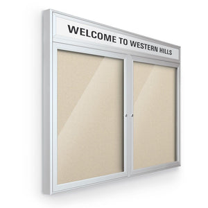 "Outdoor headline Bulletin Board Cabinet, 2 Hinged Doors, Silver, 36""Hx48""W"