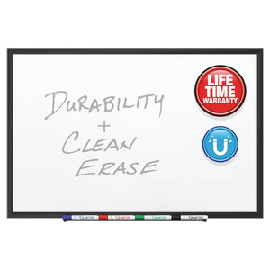 Quartet Duramax Porcelain Magnetic Whiteboards, Black Aluminum