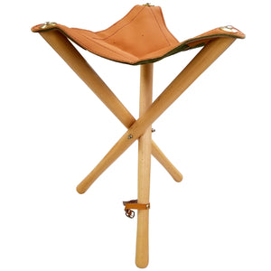 HERITAGE ARTS™ Folding Wood Stool w/ Leather Seat