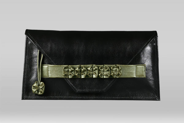 Origami Clutch - Black/Pearlized Green - Turtle Ridge Gallery