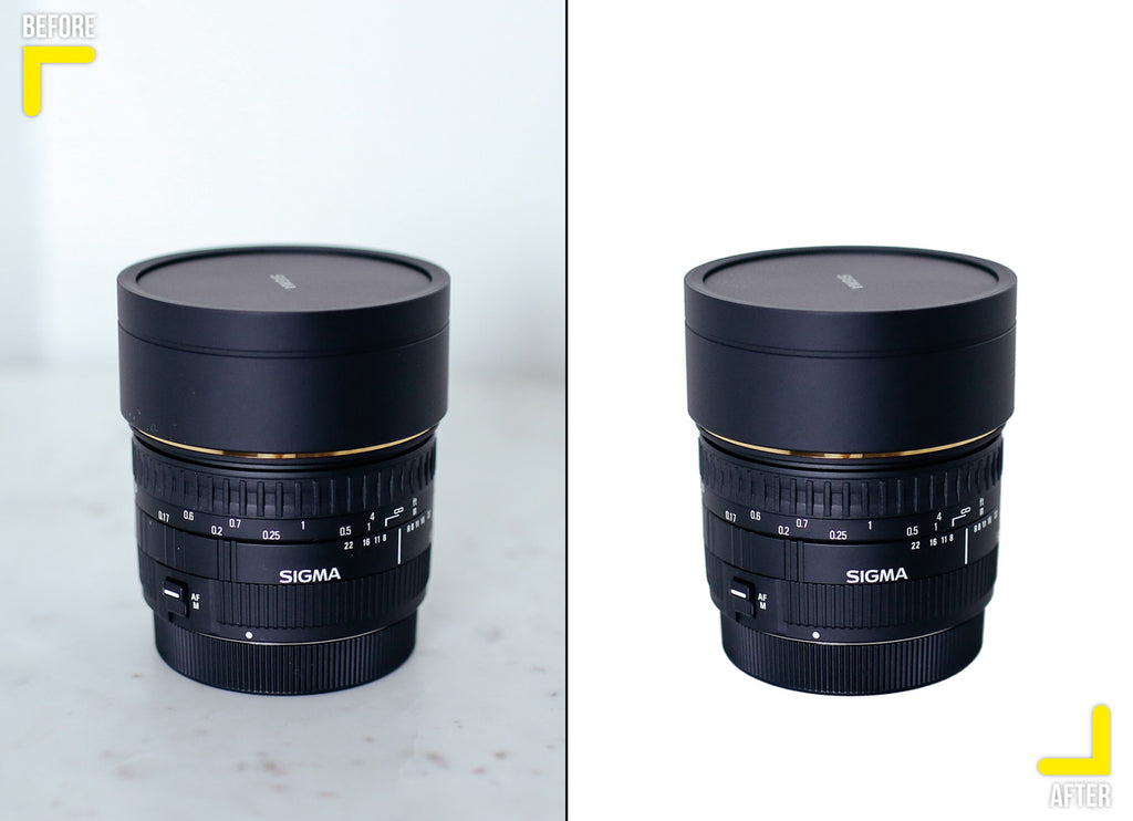 Product retouching, lens clipping path with white background