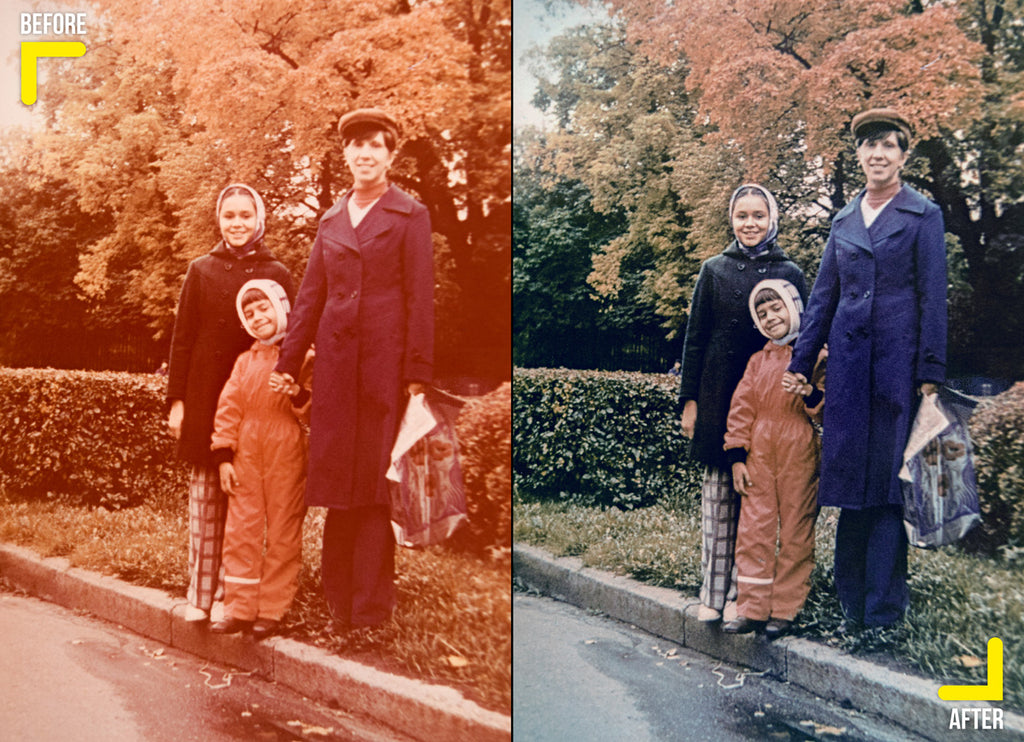 Edited old photo of family with color correction and removing color cast