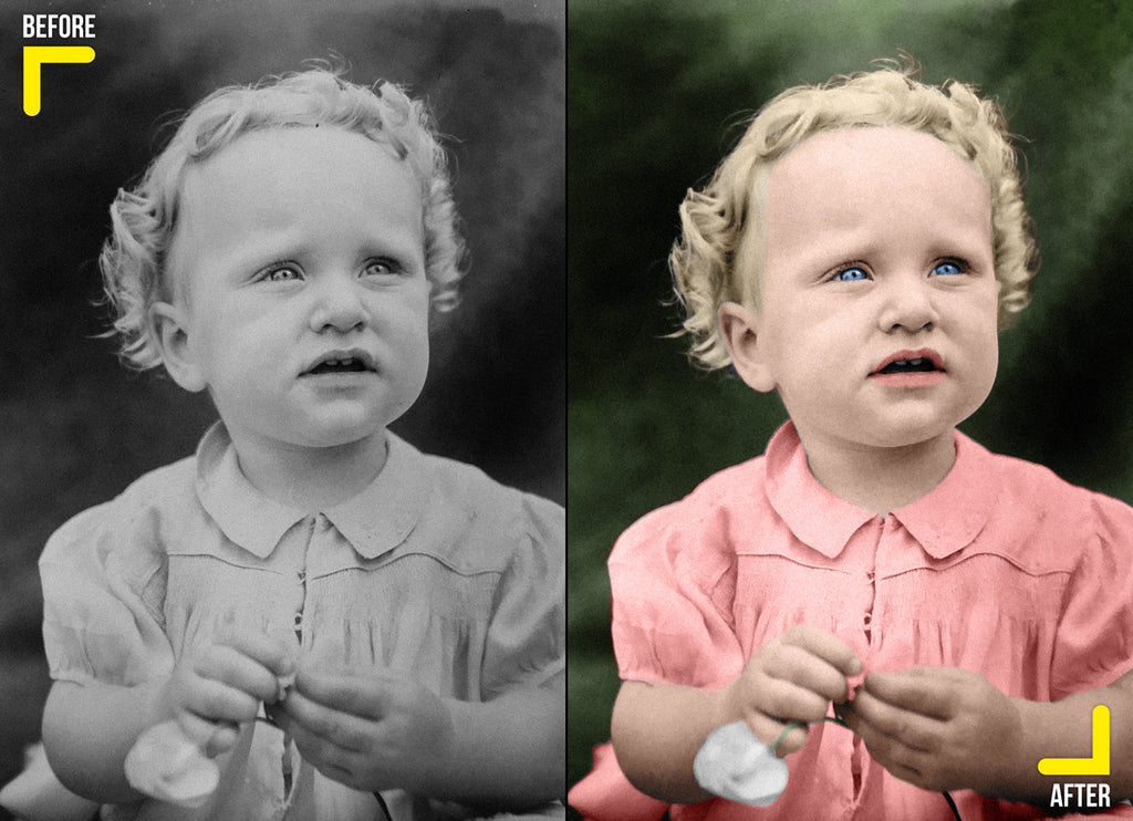 Photo colorization of a black and white baby girl
