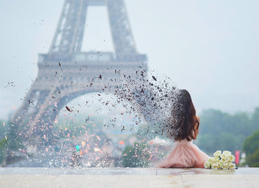 Dispersion effect of girl in Paris in front of Eiffel tower