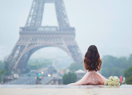 Original photo before dispersion effect of girl in Paris in front of Eiffel tower