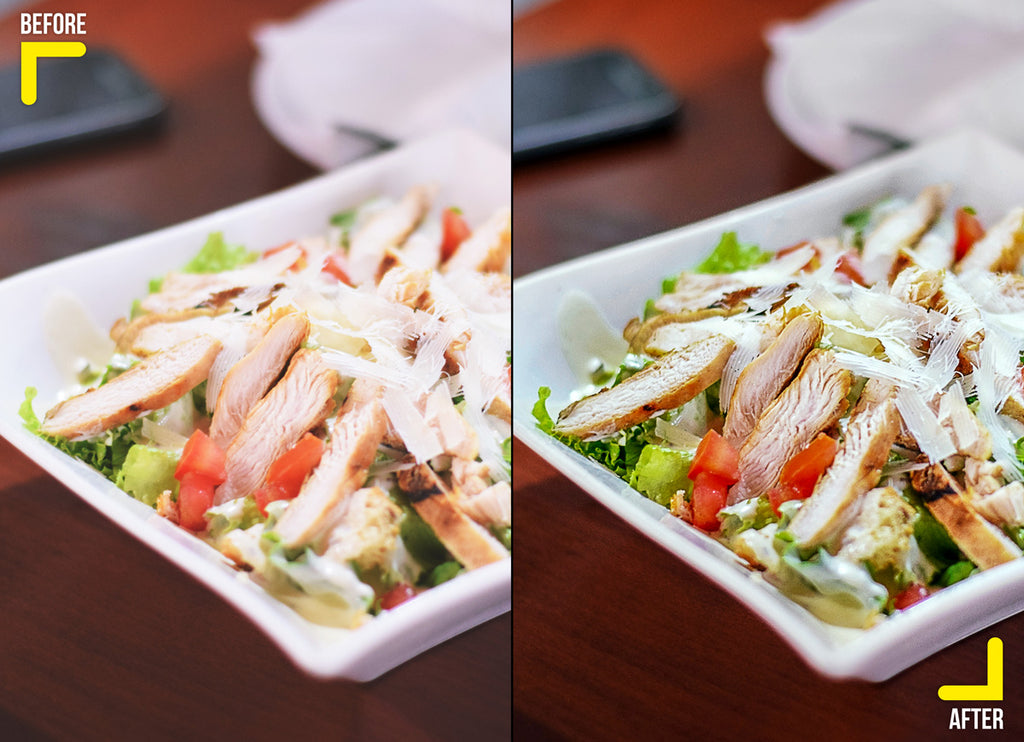 Food retouching of a chicken salad