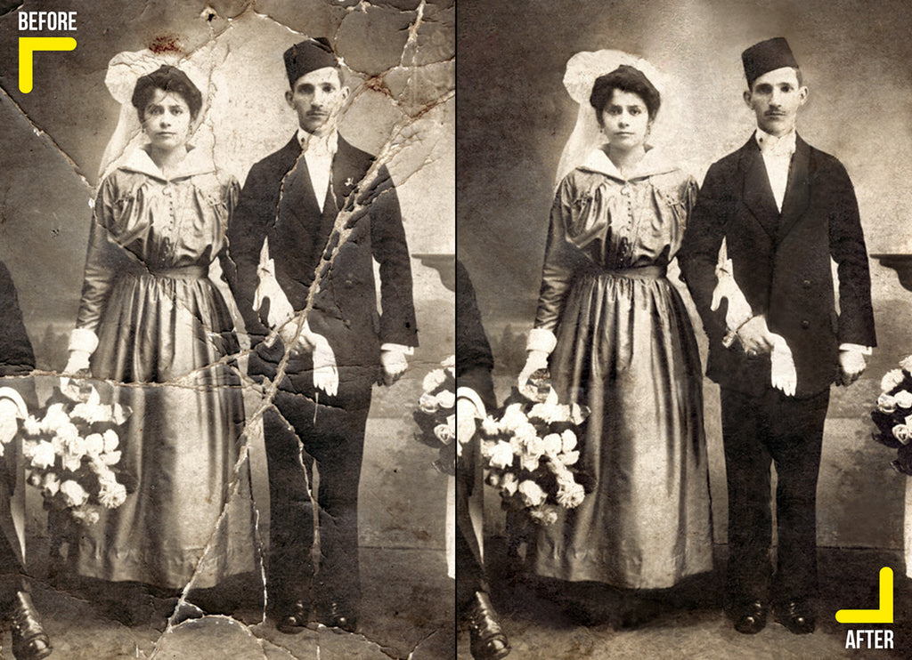 photo restoration of an old wedding photo